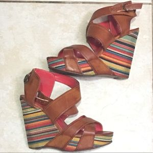Unlisted Colorful Wedge Sandals size 8.5
